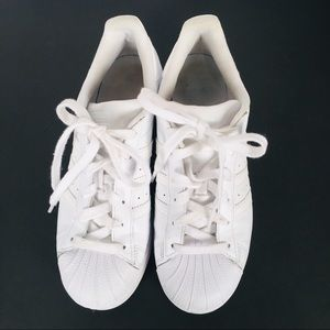 Adidas White Leather Women's Junior Tennis Shoes